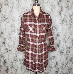 Patagonia Plaid Tunic Top Mini dress Red Sz M